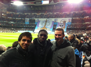 From left to right: Argentinian footballer Giovanni Simeone, Jalil, and MLS Rookie of the Year Austin Berry take it all in at the Santiago Bernabeu. (photo: chicago-fire.com)