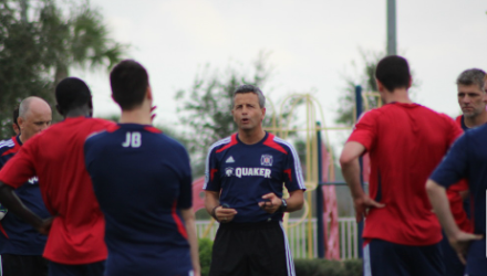 The Gaffer addresses the troops in preseason. (photo: chicago-fire.com)