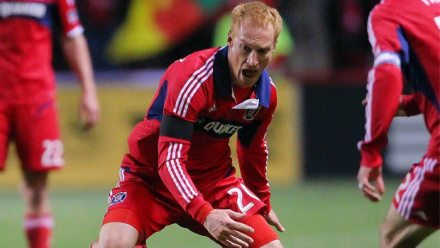 Larentowicz displaying this season's hottest fashion: frustration.