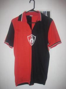 "El Sifon's club used this jersey. The Atlas logo ""A"" was hijacked to represent ""Azteca""."