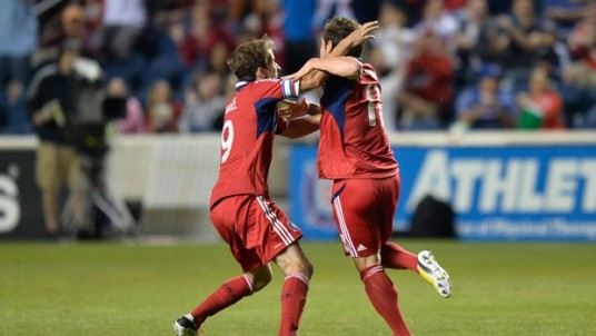 Daniel Paladini celebrates his game tying goal with Mike Magee (source: chicago-fire.com)