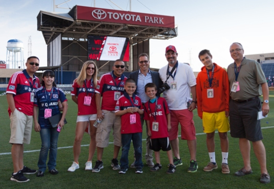 """Hauptman with the """"Messi and Friends"""" fans he kindly reached out to (photo by chicago-fire.com)"""
