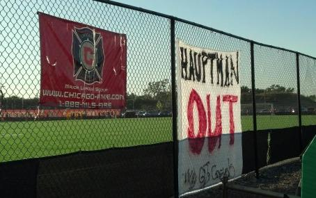 "A giant ""Hauptman Out"" banner hangs from the Chicago Fire practice field (photo by Adam Morgan)"