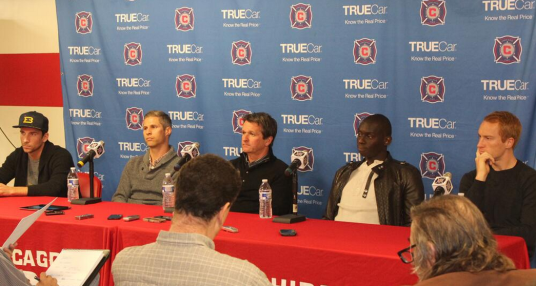 The gaffer and his vets played Q&A at Toyota Park this week (photo: @ChicagoFire)