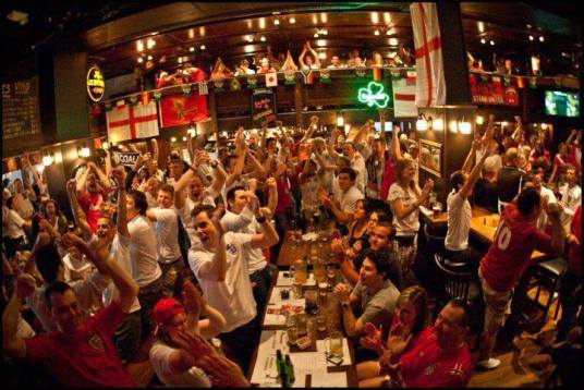Watching football in a bar with a few hundred friends - what's not to like? (Photo: The Official England House)