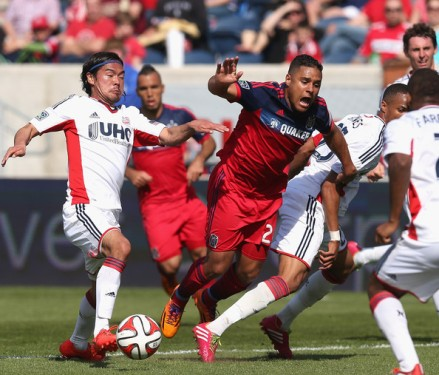 Despite his fine goal, it was a rough and tumble day for Weapon Q vs. the Revs... (photo: zimbio.com)