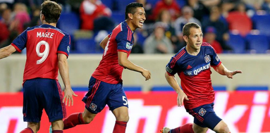 Harry Shipp and friends celebrate giving Chicago the lead (photo: Chicago Fire Facebook page)