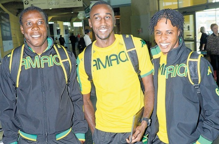 Jermaine Anderson (left) moved to El Salvador's CD Aguila last season, but Richard McCallum and Romario Campbell are still Waterhouse men. (jamaicaobserver.com)