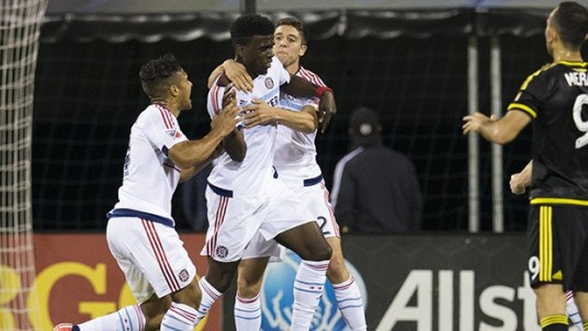 Clear the way, here comes a striker. (Via Chicago-Fire.com)