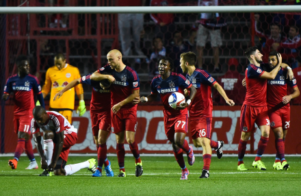 Chicago Fire Soccer Celebrates Win over New York Red Bull August 2015